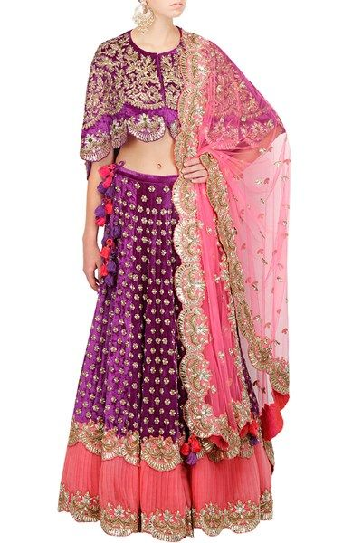 Lehengas , Clothing, Carma, Purple Velvet Hand Embroidered Lehenga With Cape