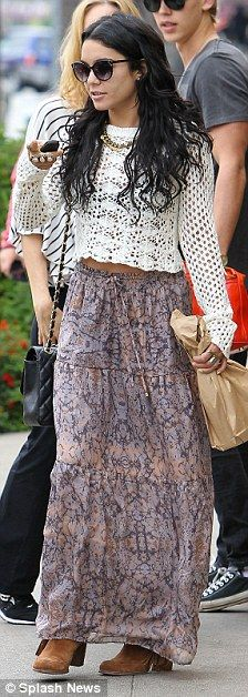 That's very daring! Vanessa Hudgens bares her midriff in a cropped top as she meets boyfriend Austin Butler's mother