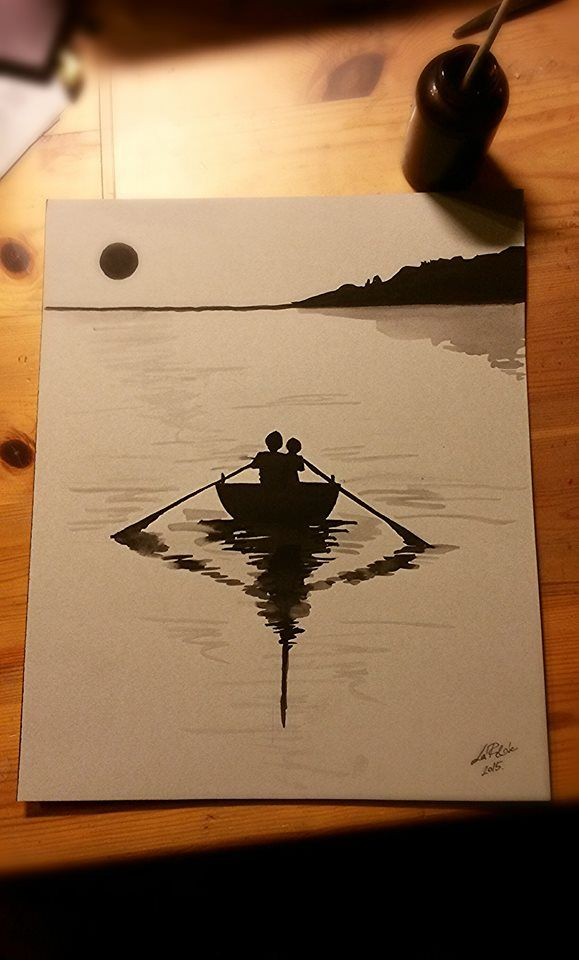 Floating boat - gouache painting  by Flora Laszlo, 2015 - another present and a lovely memory