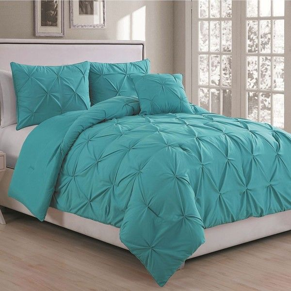 Anabelle Pinch Pleat Comforter Set Turquoise Blue Turq