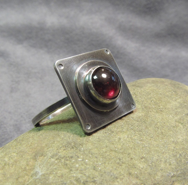 Red Garnet & sterling silver ring by DeMoyJewelryDesigns, via Flickr