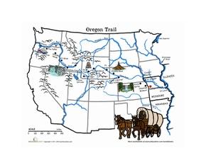 Oregon Trail Map: The Wagon Train of 1843 Worksheet