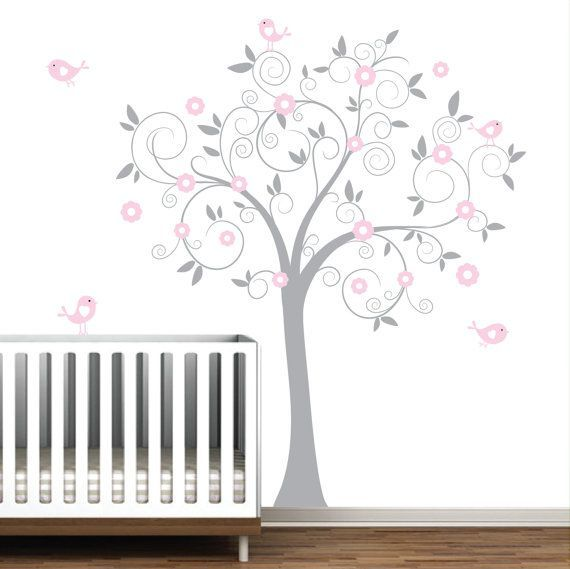 Grey and Pink Swirl Tree with Birds-Nursery Baby Wall Decal Vinyl   For C's room, with blue/aqua birds and green leaves?