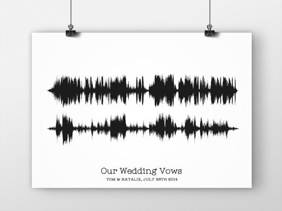 Wedding Vow Soundwave Art, Giclee Print, First Paper Anniversary Gift For Him or Her, First Dance Song, Paper Anniversary, Husband or Wife