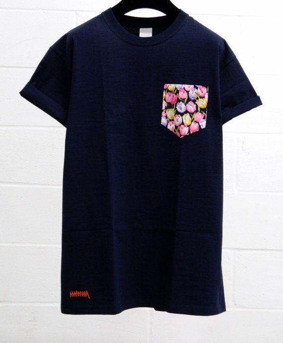 Men's Colourful Tulips Pattern Dark Blue Pocket by HeartLabelTees