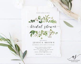 Greenery Bridal Shower Invite Modern Bridal Shower Invitation Bridal Shower Invite PDF Template Instant Download Bridal Shower #ASB02