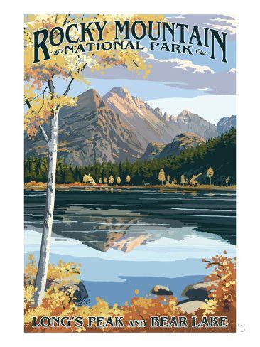 Long's Peak ja Bear Lake, Kalliovuorten kansallispuisto Julisteet tekijänä Lantern Press AllPosters.fi-sivustossa