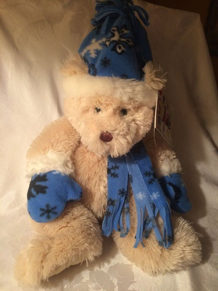 Plush Teddy Bear Snowflake cap gloves and scarf Winter St. Jude Silky Soft #StJude