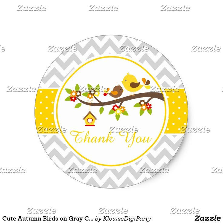 Cute Autumn Birds on Gray Chevrons Thank You Classic Round Sticker