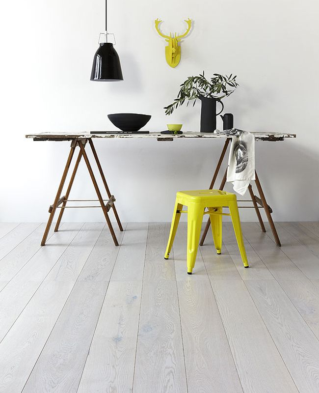 pop of yellow with harpers + sandilands royal oak floors in danish white, on share design