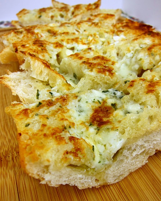 Gorgonzola Garlic Bread -- I might as well get ready to welcome the 10 pounds I will probably gain:-)