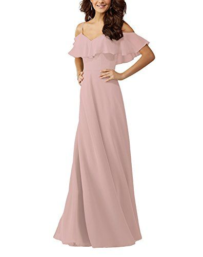 Lafee Bridal Off Shoulder Ruffle Chiffon Long Prom Evening Gown Bridesmaid  Dress
