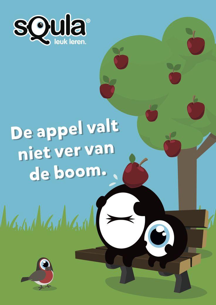 Kinderen lijken qua karakter op hun ouders.  Educatieve poster met Nederlandse spreekwoorden en gezegden: De appel valt niet ver van de boom.