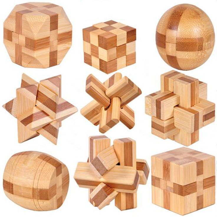 9 PCS New Excellent Design IQ Brain Teaser 3D Wooden Interlocking Burr Puzzles Game Toy For Kids PQQ02