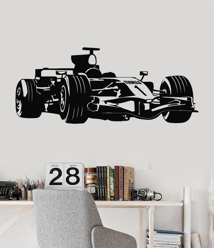 Vinyl Wall Decal Formula 1 Race Car Garage Decor Children's Room Stickers (118ig)
