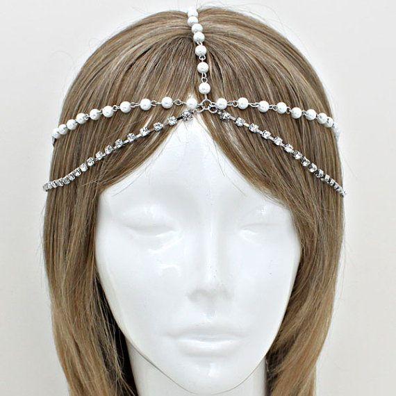 Горячая распродажа Siliver циркон цепочка с жемчугом штук женская головной убор повязка на голову металлической цепью волосы обернуть голову, Заказ > $ 5, Отправить подарок