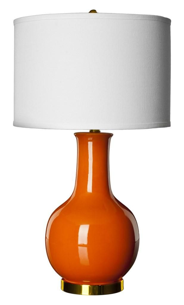 This lamp is sure to illuminate any room with elegance and style. Its classic gourd body of dark orange glazed ceramic is accented with gold-finished metal neck and base, and topped with a hard white