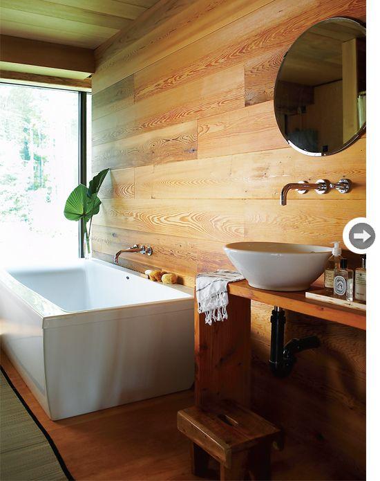 Modern cottage bathroom with warm wood walls