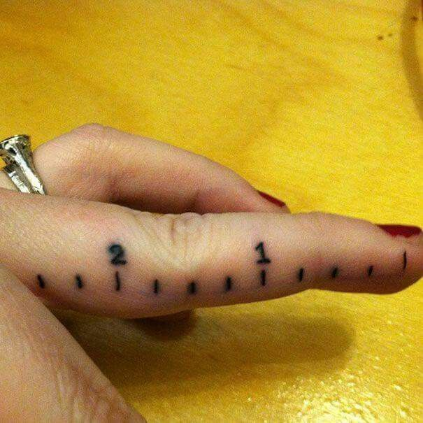 Ruler increments tattoo for engineers, hairdressers, carpenters, seamstresses, tailors, architects, badasses, etc. Love this! Talk about dedication!