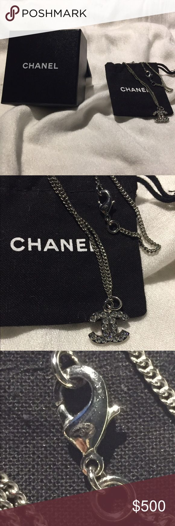 Auth CHANEL CC Logo Pendant Crystals Silver Ncklce Auth CHANEL CC Logo Pendant Crystals Silver Chain Necklace  Authentic Chanel Necklace Rare in Mint Condition.  It's on a 16 inch chain with the stamp on the lobster claw, includes Chanel Box, and Chanel Dust Bag.  I believe I have the receipt for this.    Chanel retired pieces only go up in price when in Excellent condition please see photos for condition!  Pic of the update Stamp  © Chanel ® B10 (Chanel Logo) V Made in Italy  Reasonable…