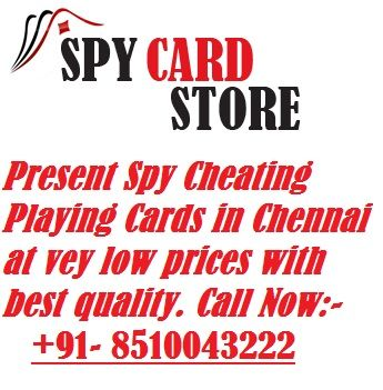 Spy Card Store is the best place to buy spy cheating playing cards in Chennai at very low prices with best quality. It's suitable for all card games. These cards are made with the best quality materials. The big hidden marks are printed on cards middle aria. The hidden marks visible only specially customize soft contact lenses. With the help of contact lens you can see the numbers of cards of other players. To know more:- http://www.spycardstore.in/spy-cheating-cards-chennai.html