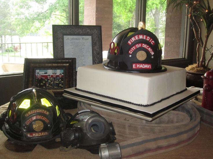 Firefighter Groom's Cake | Fireman Helmet Cake made to match the groom's real helmet. The helmet ...