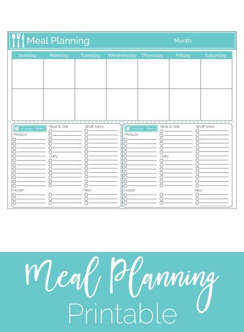 Two Week Meal Planner Printable / Two Week Menu Plan printable