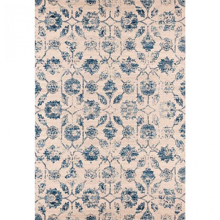 Modern shabby chick blue & sand rug Capri I by Sitap