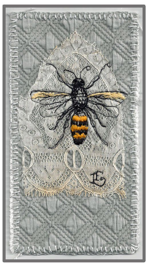 Embroidery of a honey bee layered on antique lace. #bees