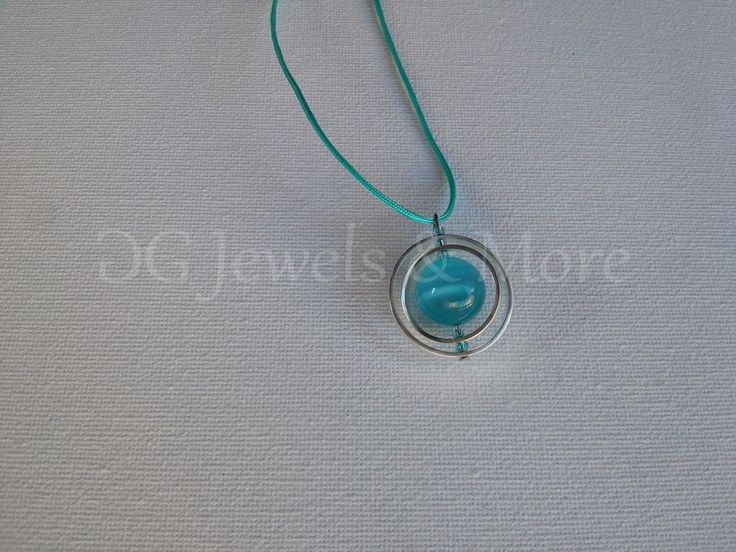 Planet Tweested Circles pendant silver plated aqua cat eye adjust tinas creation #TinasCreations #Pendant