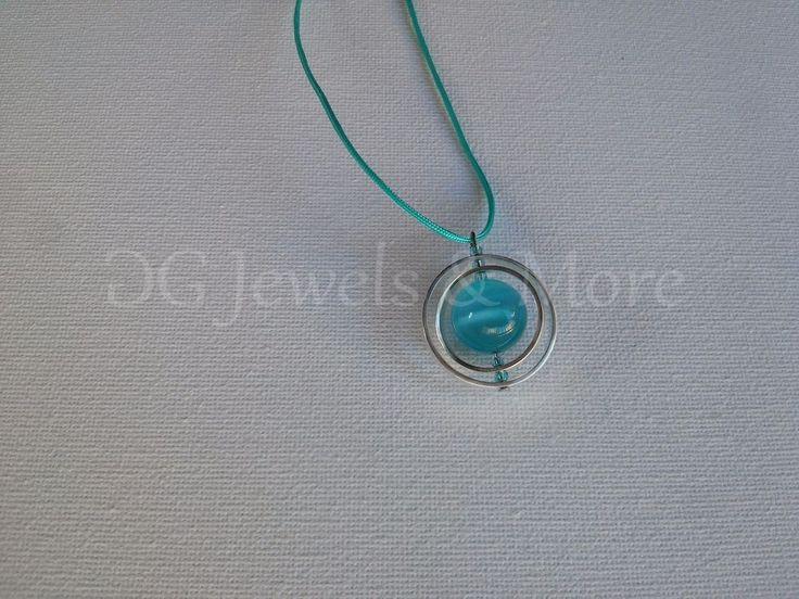 Planet Tweested Circles pendant silver plated aqua cat eye adjust tinas creation #TinasCreations #Pendant