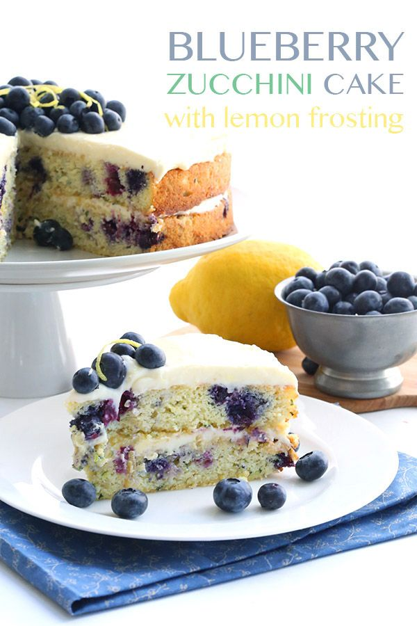 Low Carb Grain-Free Blueberry Zucchini Cake with Lemon Frosting