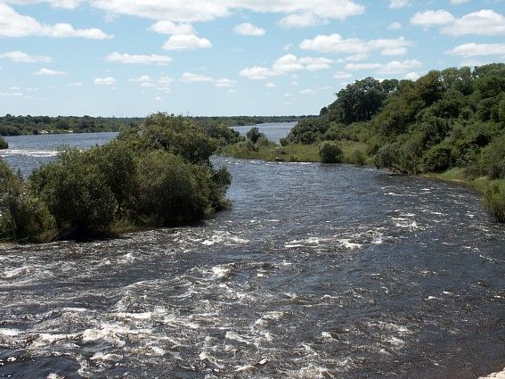 """Namibia_Caprivi_KatimaMulilo-Sesheke_Border_1.JPG (567×425) Border Beacon at the Katima Rapids near the present-day Namibia/Zambia Border (17°28'29,29"""" south, 24°17'50,04"""" east) with """"S.W.A."""" (South West Africa) on West Side and """"N.A."""" (Northern Rhodesia) on East Side  Copyright of Photos: Dr. Klaus Dierks"""