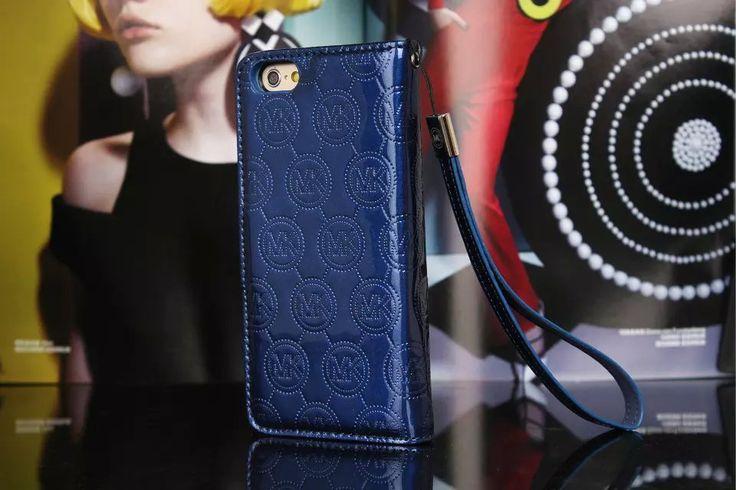 Michael Kors iPhone 7 Case Wallet MK Bling Vernis Cover Blue-01