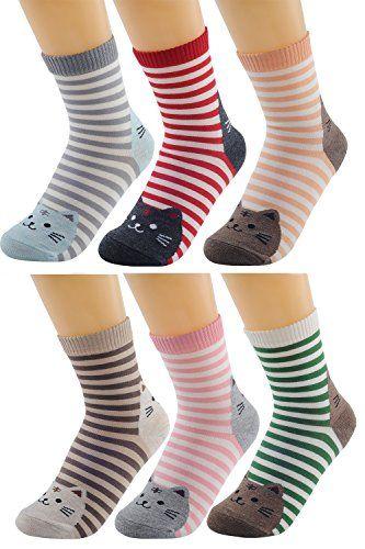 6 coppie di donne signore ragazze misto colori a strisce Cartoon animali gatto modello calzini inverno spessore caldo calzini adatto per l'inverno o autunno indossare. Fits Scarpa dimensioni US 5-9.