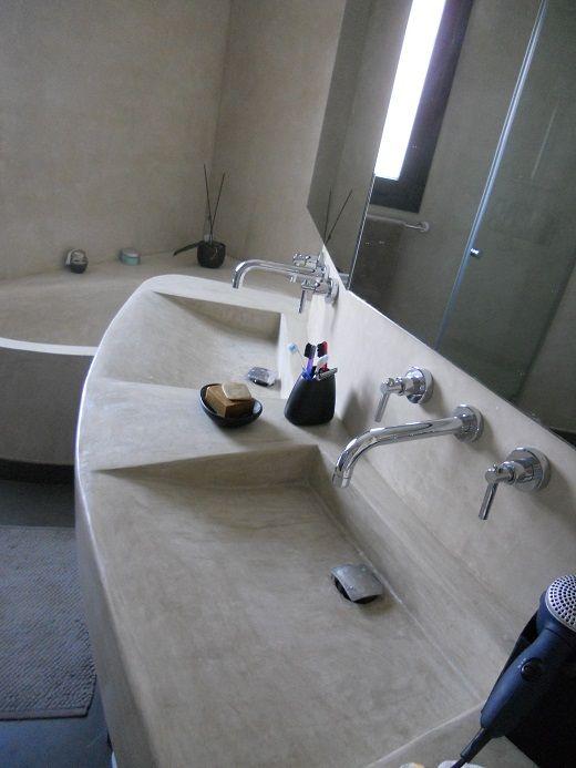 tadelakt used in creating vanity space. I'd do narrower sink basins.
