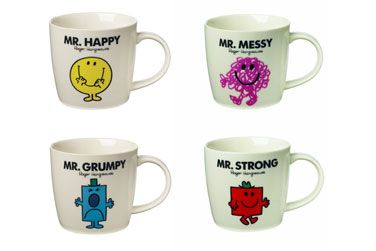 Mr men mugs - Remember+those+classic+Mr+Men+&+Little+Miss+Books+by+Roger+Hargreaves?+Here+is+a+selection+of+Gent's+favorite+Misters.  The+front+of+the+mug+features+the+character+and+on+the+back,+a+fun+extract+from+the+original+books.+Each+mug+comes+in+a+themed+Mr+Men+presentation+box.+  +  Available:+Mr.+Happy,+Mr.+Grumpy,+Mr.+Strong+and+Mr.+Messy