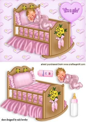 CUTE IN PINK SLEEPING BABY GIRL on Craftsuprint - Add To Basket!