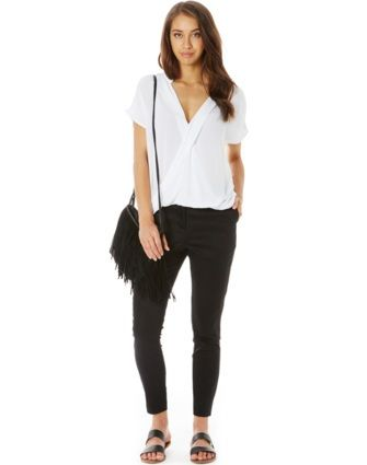Ankle Zip Capri Pants Black-$29.95