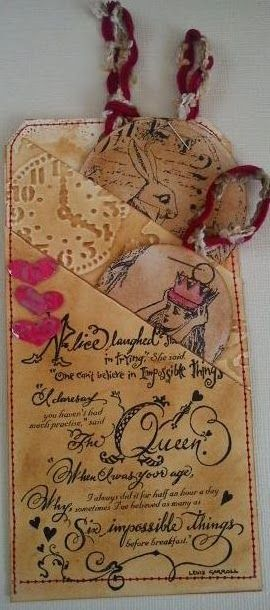 Tracy Evans: The Altered Alice Chapter 6 Challenge: Painting The Roses Red!  Love The Layed Tags
