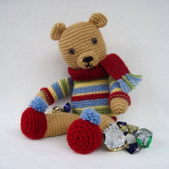 Knitted Bear Pattern : Toffee Ted - vintage style knitted teddy bear pattern - INSTANT DOWNLOAD - PD...