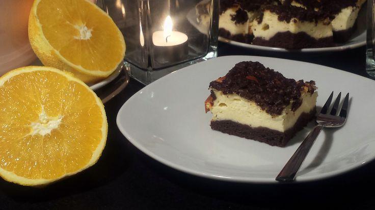 Sernik królewski na kakaowym spodzie z pomarańczową nutą