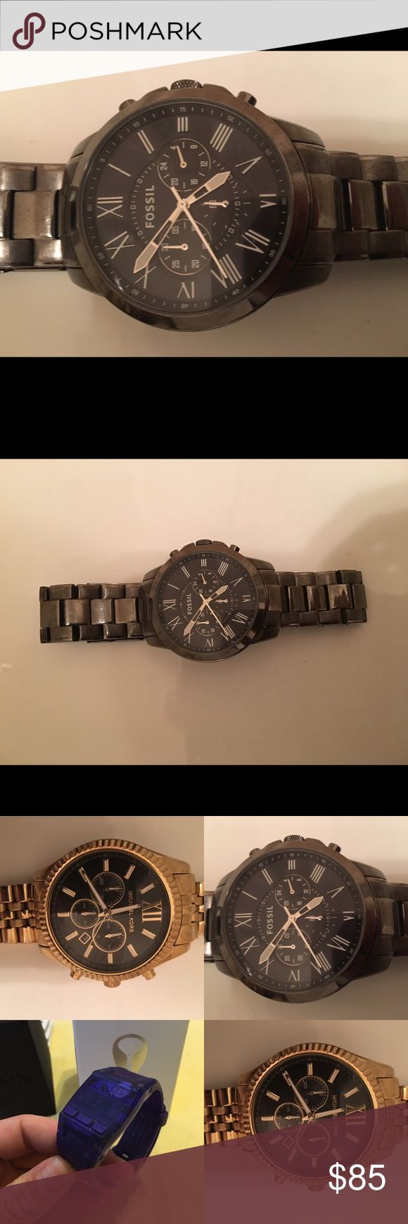 """Fossil Watch Worn once or twice. Making room in my collection for more. This listing is priced to included a professional polish and battery replacement by my jeweler. Because the battery needs to be replaced, I have another listing for this timepiece """"as-is"""" for $25 less. The last photo is of the three watches I am selling that also have a lower listing with the need for a new battery. Fossil Accessories Watches"""