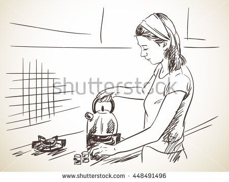 Sketch of woman on kitchen with teapot, Hand drawn vector illustration