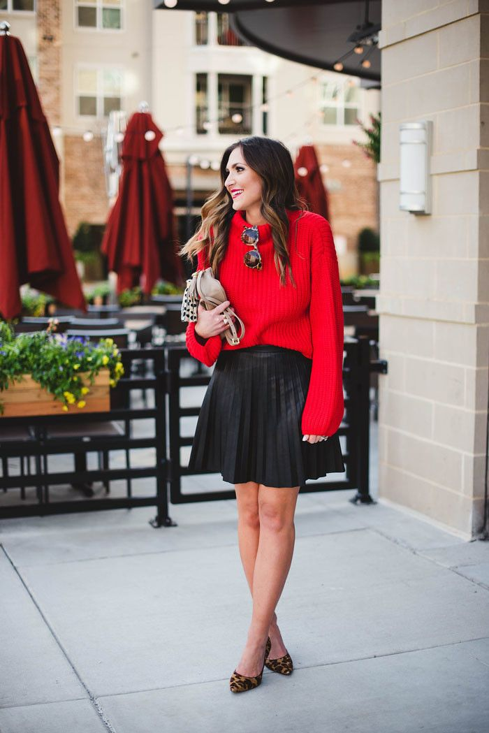 Red Sweater, Valentines Day Outfit, Leather Skirt, Leopard Heels  www.styleyoursenses.