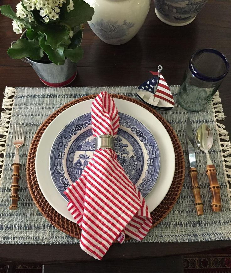 """197 Likes, 43 Comments - Janice Jackson (@janicejackson4) on Instagram: """"Playing around with 4th of July table settings❤"""""""