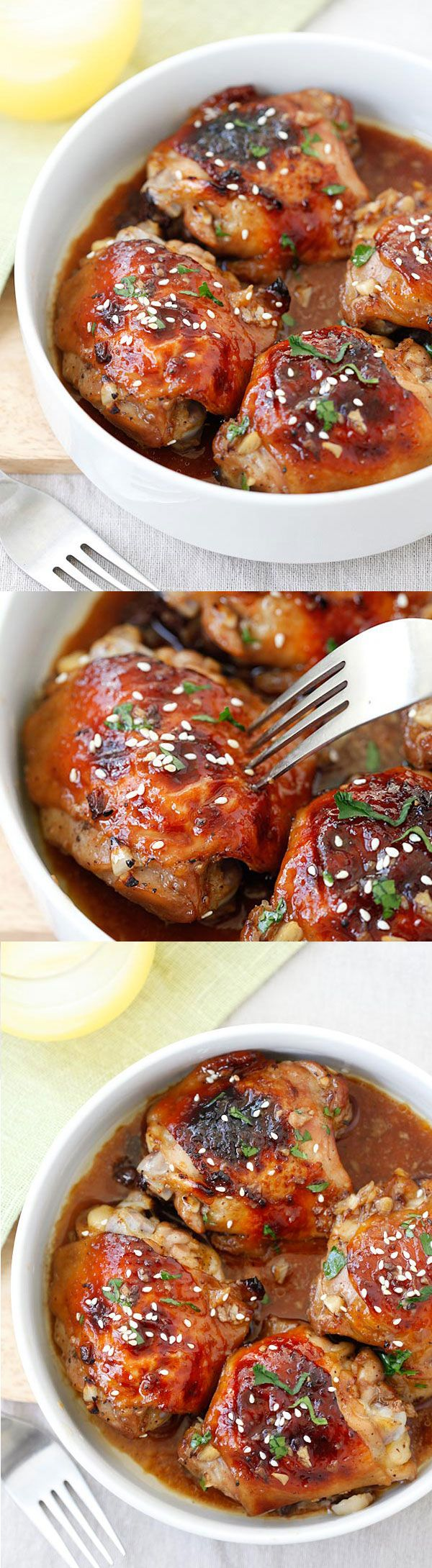 Baked Honey Soy Chicken – moist, tender and juicy chicken thighs marinated with honey, soy sauce, ginger, garlic and baked in oven. Easy dinner for the family! | rasamalaysia.com