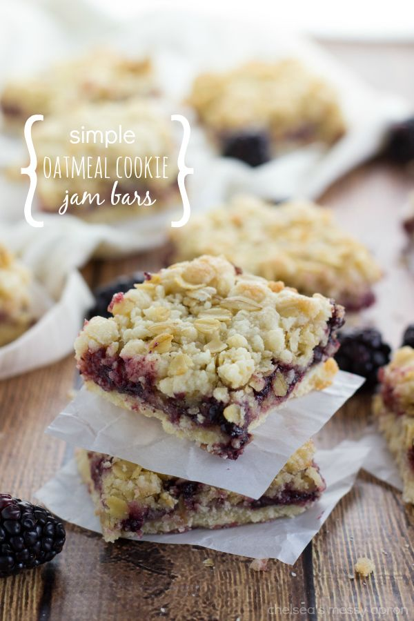 Simple Oatmeal Cookie Jam Bars! YUM! I love the contrast between soft and crunchy in bars!!! These would be so easy to make & only need 6 ingredients!!