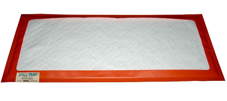 """ST-2040-O – Andax Oil-selective Spill Tray™. Size: 20""""x40"""". Absorbs up to 2.83 gallons. Oil-selective, reusable spill containment for drips and leaks. Absorbent liners soak up the mess while the protective flexible PVC tray keeps it off your floors and walkways. Just place it under the source of the leak and watch it work. Simply remove the used absorbent pad and replace it with a new refill. Andax Industries LLC 1-800-999-1358"""