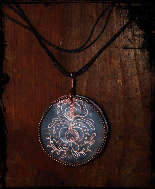 Patina copper #necklace with traditional Hungarian ornament
